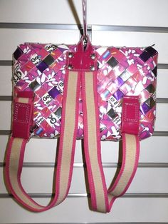 Double adjustable straps. Hand made in. Mexico from recycled materials like candy wrappers or magazines.