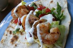 Grilled shrimp tacos with Jalopeno ranch sauce! YUMM!