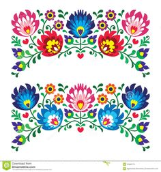 Polish floral folk embroidery patterns
