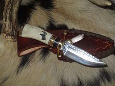 "Hunting Knife Ken Richardson CUSTOM MADE USA SMOOTH HORN COCOBOLO 4 "" DROP BLADE…"