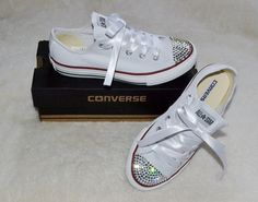 Customised Crystal White Low Top All Star Converse with Blinged Crystal Toes & White Ribbon Custom Order Wedding Shoes Adult Womens Size. £65.00, via Etsy.