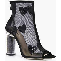 Boohoo Kara Heart Trim Mesh Shoe Boot | Boohoo (€39) ❤ liked on Polyvore featuring shoes, boots, mesh shoes, boohoo shoes, heart shoes and mesh boots