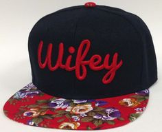 WIFEY 3D Flat Bill Snapback Hat Hip Hip WIFE Cap Black Crown Floral Bill Red Flowers on Etsy, $22.00