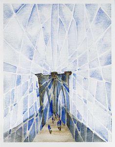 The Brooklyn Bridge -  Print of my original Watercolor painting, New York City Art,Ready to hang