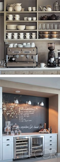 I might remove the doors from the cabinets overlooking the coffee bar.  Here are 30 brilliant coffee station ideas for creating a little coffee corner that will help you decorate your home. Find and save ideas about Home coffee stations in  this article. See more ideas about Coffee corner kitchen, Home coffee bars and Kitchen bar decor, Rustic Coffee Bar. #HomeDecorIdeas #HouseIdeas #CoffeeLovers #CoffeeTable #CoffeeStation