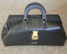 Vintage Professional Case Inc/ Leather Doctor Bag/ Black Pebbled Leather