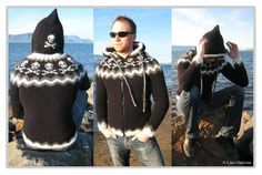 awesome hooded lopapeysa... with skulls! Mens Knit Sweater Pattern, Jumper Patterns, Fair Isle Knitting Patterns, Sweater Knitting Patterns, Knitting Yarn, Crochet Patterns, Icelandic Sweaters, How To Start Knitting, Boys Sweaters