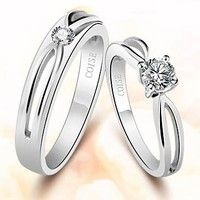 Name Engrave 925 Sterling Silver and Swiss Diamond Hollow Couple Ring