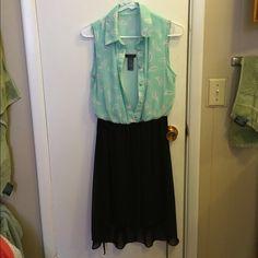 Bisou Bisou blue and black collared dress Blue and black collared dress with feather print worn once to church Bisou Bisou Dresses Mini
