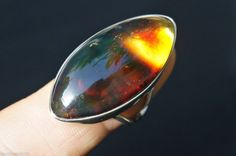 NEW DOMINICAN MARQUISE-SHAPED BLUE AND RED AMBER 925 SILVER RING JEWELRY, SIZE 8 #DominicanBlueAndRedAmber #FashionRing