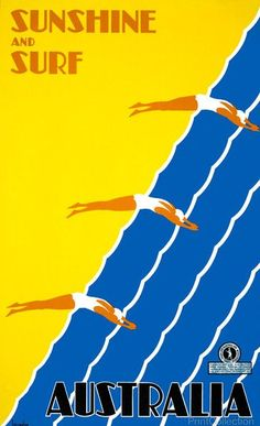 Poster promoting Australia - Sunshine and Surf created by Gert Sellheim around 1930.Created in Melbourne by the Australian National Travel Association, as a color lithograph, color at 102 x 63 cm. Pos