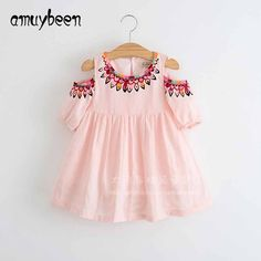 Menoea 2017 Filles Denim Robe Enfants Vêtements Automne Style Détements Papillon Broderie Robe Enfants Vê Little Girl Dresses, Girls Dresses, Summer Dresses, Stripes Fashion, Kind Mode, Baby Dress, Pink Dress, Dress Girl, Cute Dresses