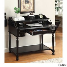 @Overstock - Furniture of America Traditional Multi-Storage Pull-Out Secretary Writing Desk - Add traditional values right in your home coated sleek two color options of black or white. It features a clever pull-out tray for extend workstation, and it's accessorized with multi-storage units, along with supported traditional turned leg ...