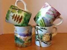 Vintage Kutani Hand Painted Mug Set Instant Collection Great Gift