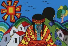 "PATRON PUNTO CRUZ   (Foto del Bordado Virtual)   ""Mapuches ""   Para bordar con Hilos DMC   300 Puntos de Ancho   200 Puntos de Alto"