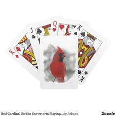 Red Cardinal Bird in Snowstorm Playing Cards