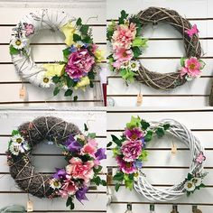 Pretty Easter wreaths for your door!  Silk flower arrangements €45 each #easter #doorwreath #springflowers #springdecor #bloomsdayflowers