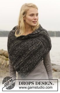 Ponchos & Shawls - Free knitting patterns and crochet patterns by DROPS Design Knitting Patterns Free, Knit Patterns, Free Knitting, Free Pattern, Knit Cowl, Knitted Poncho, Knitted Shawls, Drops Design, Crochet Woman