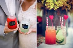 Mason Jars with bright colored drinks, simple way to add a pop of color