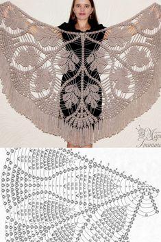 Вязание платка крючком со схемой вязания для начинающих Poncho Crochet, Col Crochet, Crochet Shawl Diagram, Crochet Motif Patterns, Crochet Shawls And Wraps, Shawl Patterns, Crochet Scarves, Crochet Designs, Crochet Clothes