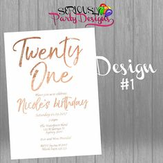 by303 digital 21st birthday party invitation modern minimal hand lettered faux foil stylish invite printable 18th 21st 30th 40th 50th 60th pinterest