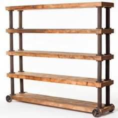 This bookcase or display shelves features a natural pine wood and iron construction, natural finish, an accent shelf type and 4 shelves to make it easier to blend in your living room decor. This is perfect for country, traditional, steampunk, barn, transitional urban, modern, contemporary or classic styled rooms. Dimensions: Overall: 80.7 inches H x 94.5 inches W x 18.1 inches D Overall Product Weight: 330 pounds