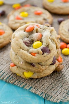 Reese's Pieces Cookies - my favorite chocolate chip cookie recipe filled with Reese's Pieces!