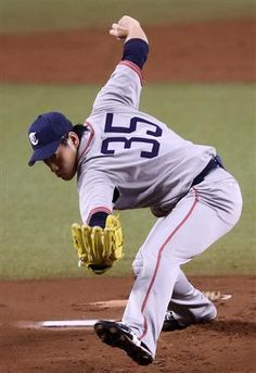 Kazuhisa Makita #35, wearing 1936 Tokio Senators throwback uniform, hurls 7 innings of 1-run ball with striking out a pair of Buffaloes, inducing 11 groundouts and a pair of double plays en route to his 5th win of the season at Seibu Dome on July 26, 2013 in Lions Classic 2013 Series.