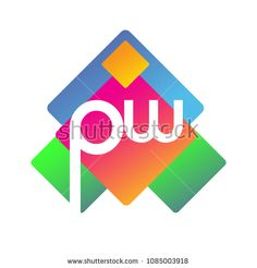 Letter PW logo with colorful geometric shape, letter combination logo design for creative industry, web, business and company. Initials Logo, Creative Industries, Geometric Shapes, Royalty Free Stock Photos, Logo Ideas, Logo Design, Lettering, Logos, Web Business