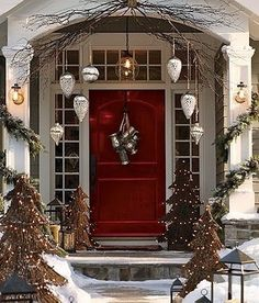 Christmas Decor- outside - Click image to find more I think I could diy those twig trees with lights so cute!