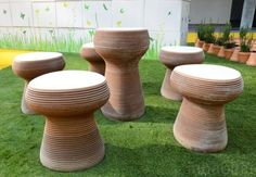 Lovin'Green Stools by Alicer - These cute ceramic seats are created from recycled tiles that have been cut into flowing shapes and then stacked to form stools. Ottoman Stool, Green Building, Sustainability, Tiles, Good Things, Shapes, Architecture, Create, Projects