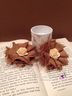 Little Shabby Chic Brown Flower  Fabric Flower by LilsCardCraft,