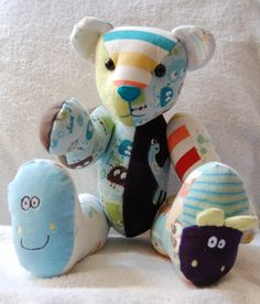 Keepsake bears made from your children's outgrown clothes!  Memory Bears and Hares are a great way to use those special items and make wonderful christening and birthday gifts!