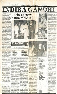 Asesinato de Indira Gandhi. Publicado el 1 de noviembre de 1984.