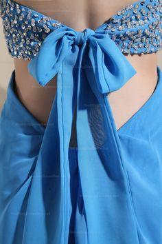 Strapless Waist-Cut Chiffon Dress With A Thigh-High DesignA-line/Princess,Floor Length,Strapless,Empire,Sleeveless,Beading,Zipper,Chiffon,Spring,Summer,