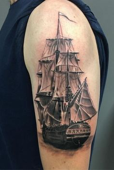 Grayscale Ship Tattoo