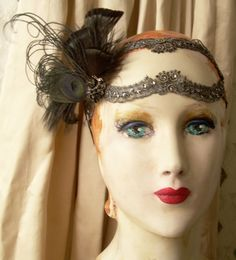 something wicked flapper headband of silver and black by owllamode