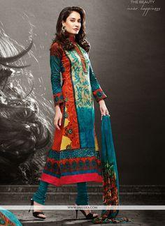 Lisa Haydon Multicolor Cotton Satin Churidar Salwar Suit
