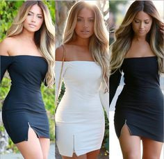 This sexy tight fitted party dress will take the chip off of any shoulder featuring an off shoulder look, long sleeves, side zipper that creates a sexy slit. Wear this mini dress when you're really trying to break some hearts or steal some!