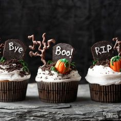 No horror stories here. The whispers that haunt these creepy plots speak of delightful cookies-and-cream cupcakes. Despite specters of shadowy ghostsand unearthly wanderers, these crypts enshroud only good things. To make each tombstone Halloween cupcake, follow these decorating steps: 1. Split a chocolate sandwich cookie in half. Remove and discard filling. Using a serrated knife, cut a cookie half to make a tombstone shape. Crush remaining cookie and trimmings. Pipe a message in white fro...