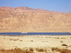Negev Desert, Israel - Scenic View north of Eilat, solar panels generate electricity for the city of Eilat #Israel #Solar