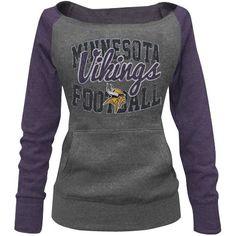 Minnesota Vikings Ladies Formation Boatneck Tri-Blend Sweatshirt - Charcoal/Purple