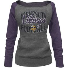 Minnesota Vikings Ladies Formation Boatneck Tri-Blend Sweatshirt - Charcoal/Purple