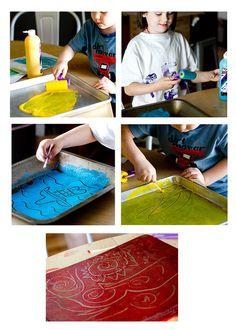 Pintar con cotonitos y témpera