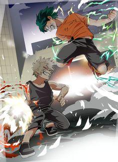 Katsuki Bakugou and Izuku Midoriya - Boku No Hero Academia☆ Boku No Hero Academia, My Hero Academia Memes, Hero Academia Characters, My Hero Academia Manga, Anime Manga One Piece, Manga Anime, Anime Art, Haikyuu, Mini Comic