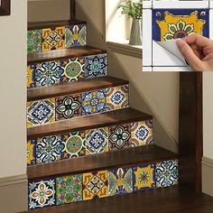 Wall Tile Sticker Kitchen Bathroom Decorative Decal : Mexican Talavera Trmix002
