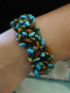 Turquoise Beaded Bracelet . Beadweaving Bracelet . Multi Stone Bracelet.. $78.00, via Etsy.
