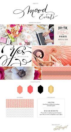 Client Feature: Mood Events / © Spitfiregirl Design - Love the patterns, colours, and script Web Design, Design Visual, Blog Design, Event Branding, Business Branding, Business Stationary, Branding Kit, Branding Ideas, Graphic Design Branding
