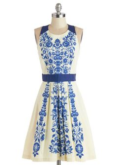Ladies Who Luncheon Dress - Blue, Floral, Cutout, Party, A-line, Sleeveless, Better, Scoop, Tan / Cream