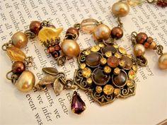 Vintage Style Autumn Rhinestone Flower Statement Necklace Brass Beaded in Amber, Brown, Bronze